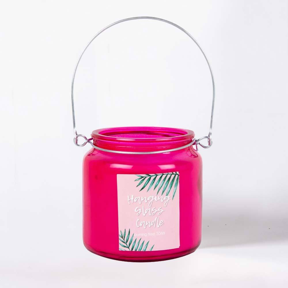 Hanging Glass Candle Pink