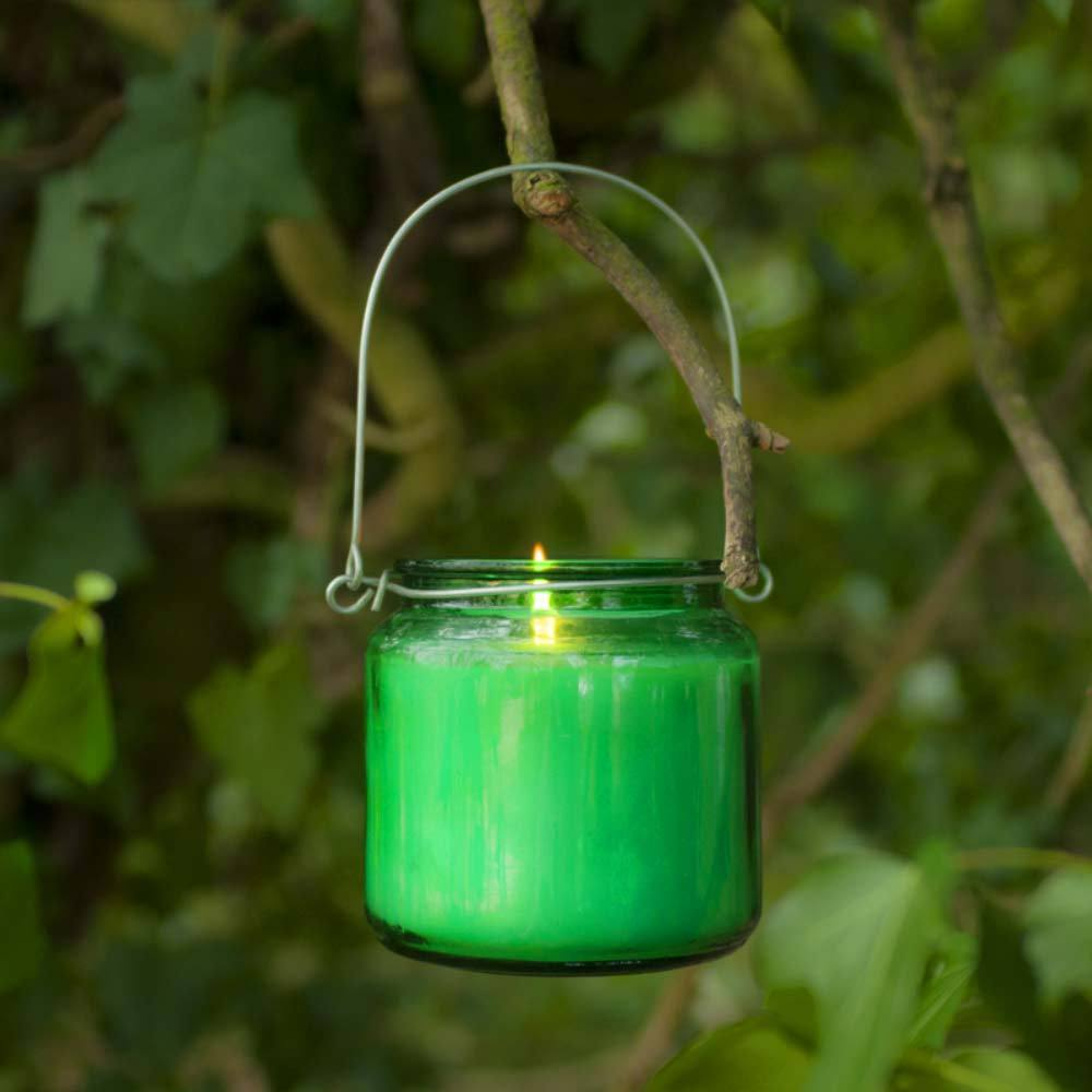 Hanging Glass Candle Green