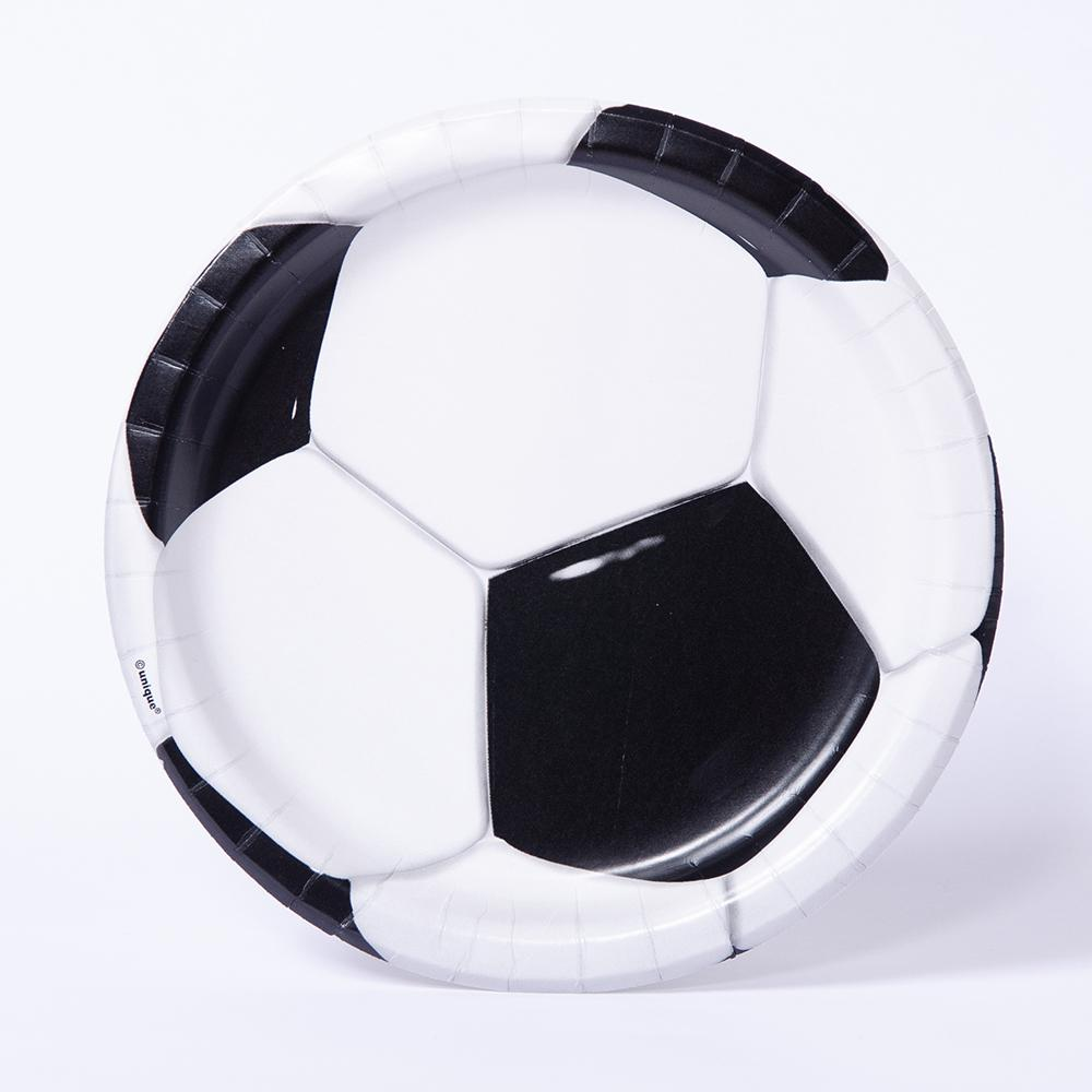 A paper party plate with a round black and white football design