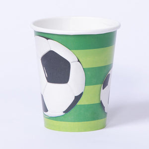 A football-themed paper party cup with a football image on a pitch background