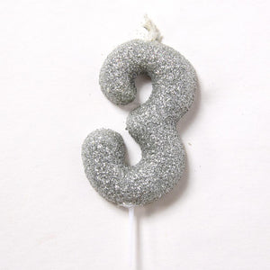 Silver Glitter Birthday Candle Number 3