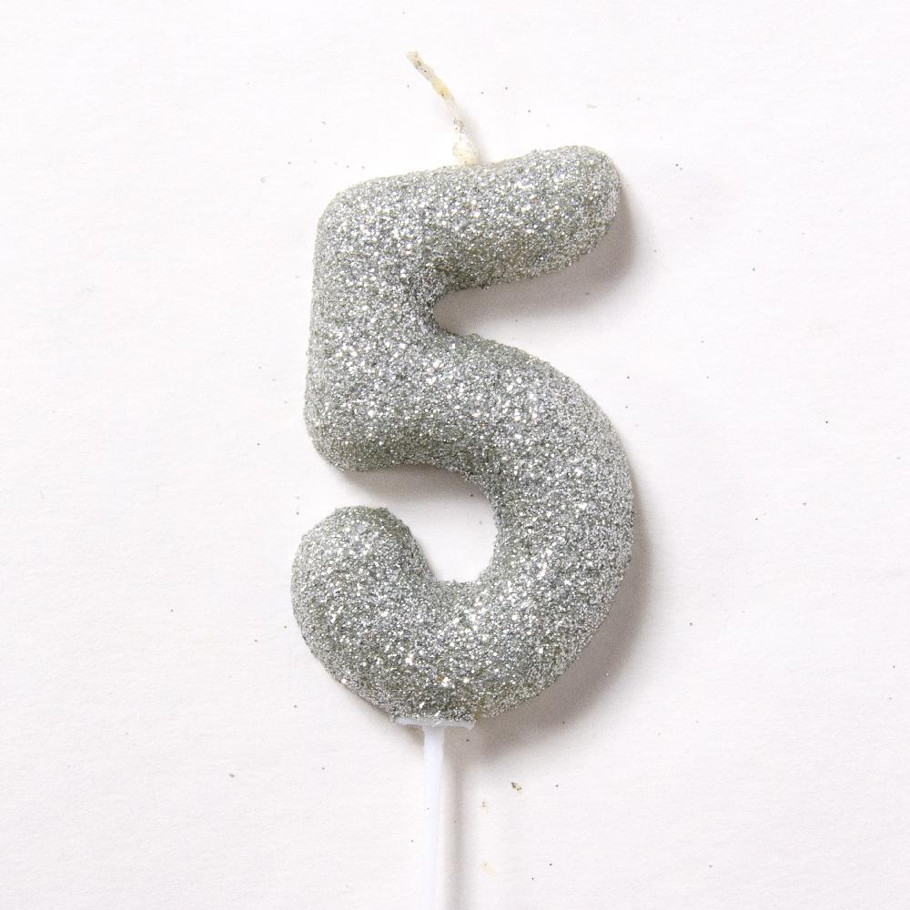 Silver Glitter Birthday Candle Number 5