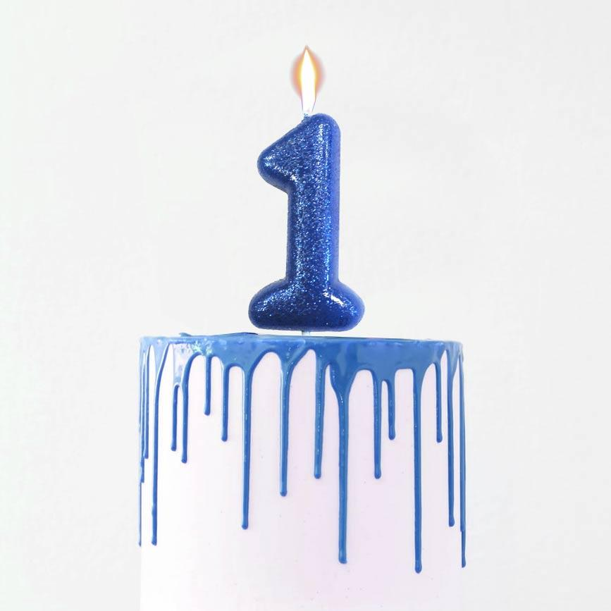 Glitter '1' Candle - Blue