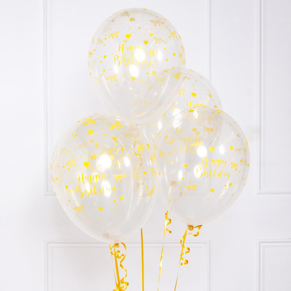 Unicorn Sparkle White and Gold Latex Party Balloons (x6)