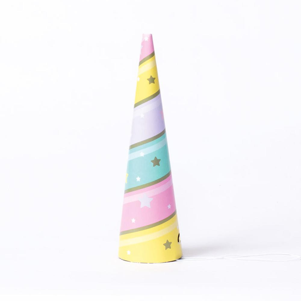 A Unicorn horn-shaped party hat with swirling pastel colours and gold stars