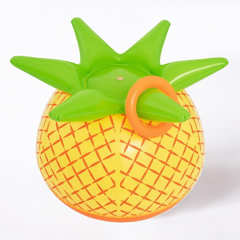 A large inflatable pineapple-shaped sprinkler