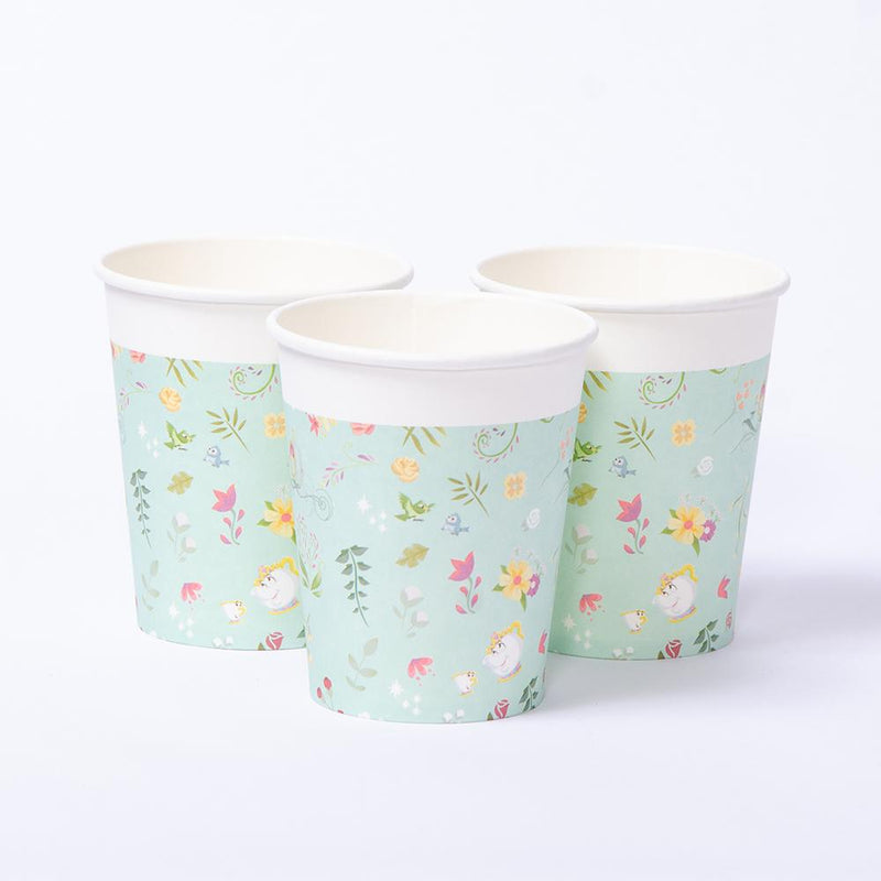 A set of 3 paper party cups featuring lots of little Disney-themed designs