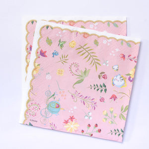 A set of pink party napkins with Disney-Princess designs