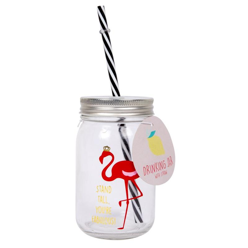 Glass Drinking Jar With Straw Fabulous Flamingo