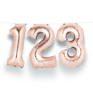 "Air-Fill Rose Gold 16"" Number Party Balloon 1"