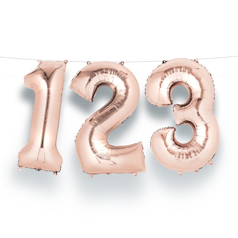 "Air-Fill Rose Gold 16"" Number Party Balloon 0"