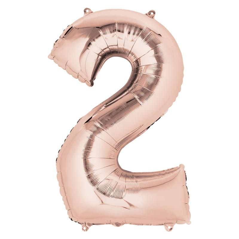 "Air-Fill Rose Gold 16"" Number Party Balloon 2"