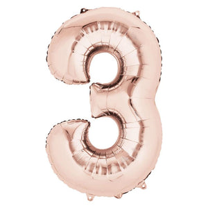 "Air-Fill Rose Gold 16"" Number Party Balloon 3"