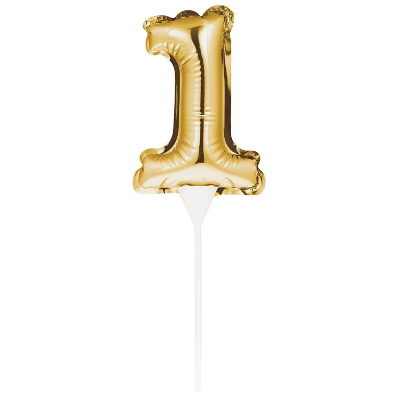 Mini Balloon 1 Cake Topper - Gold