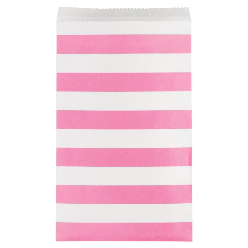 Stripe Paper Treat Bags Bright Pink (x15)