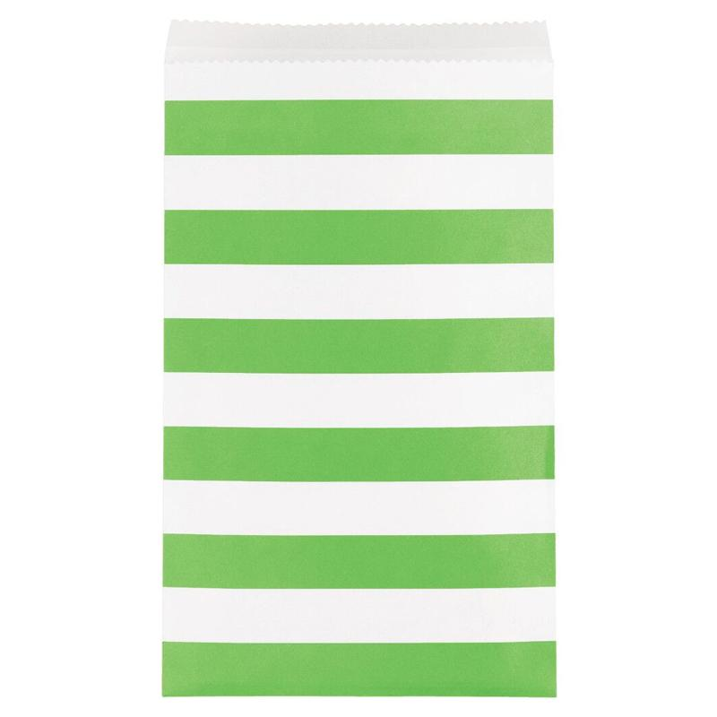 Stripe Paper Treat Bags Lime Green (x15)