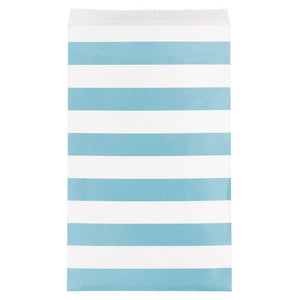 Stripe Paper Treat Bags Pale Blue (x15)