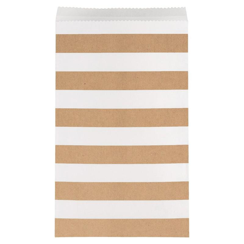 Stripe Paper Treat Bags Brown (x15)