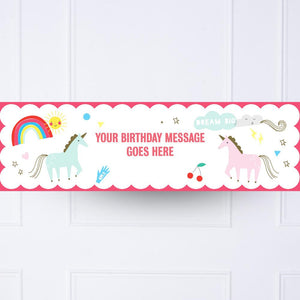 Unicorn & Rainbow Personalised Party Banner