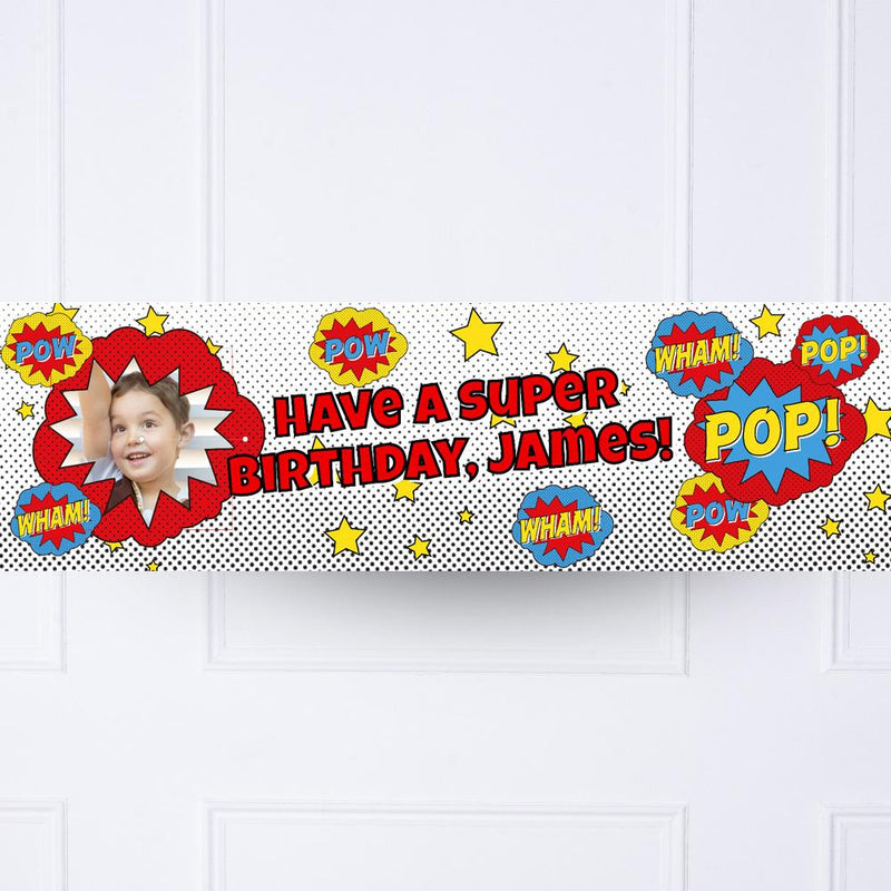 Pop Art Superhero Personalised Party Banner