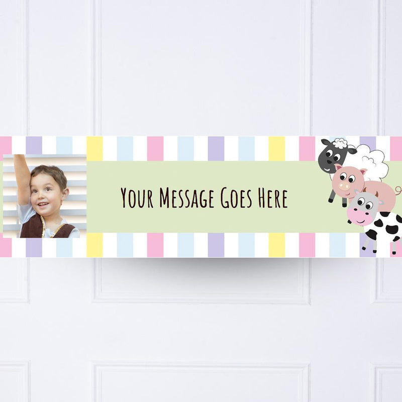 Farm Yard Animals Personalised Party Banner