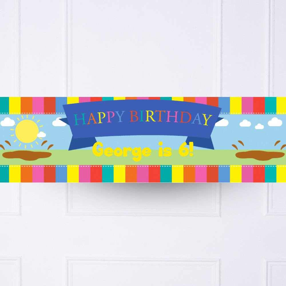 Muddy Puddles Personalised Party Banner