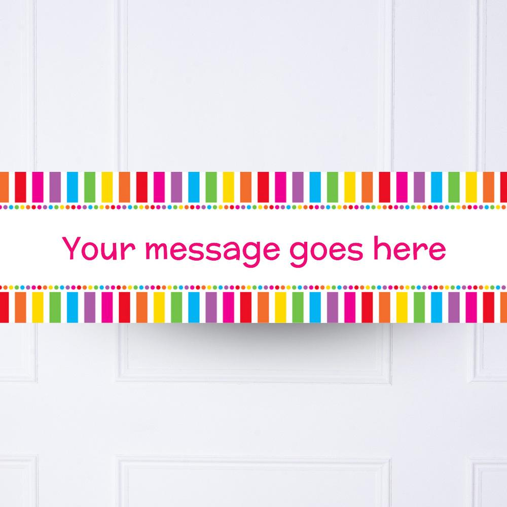 Rainbow Stripe Multi Dots Personalised Party Banner