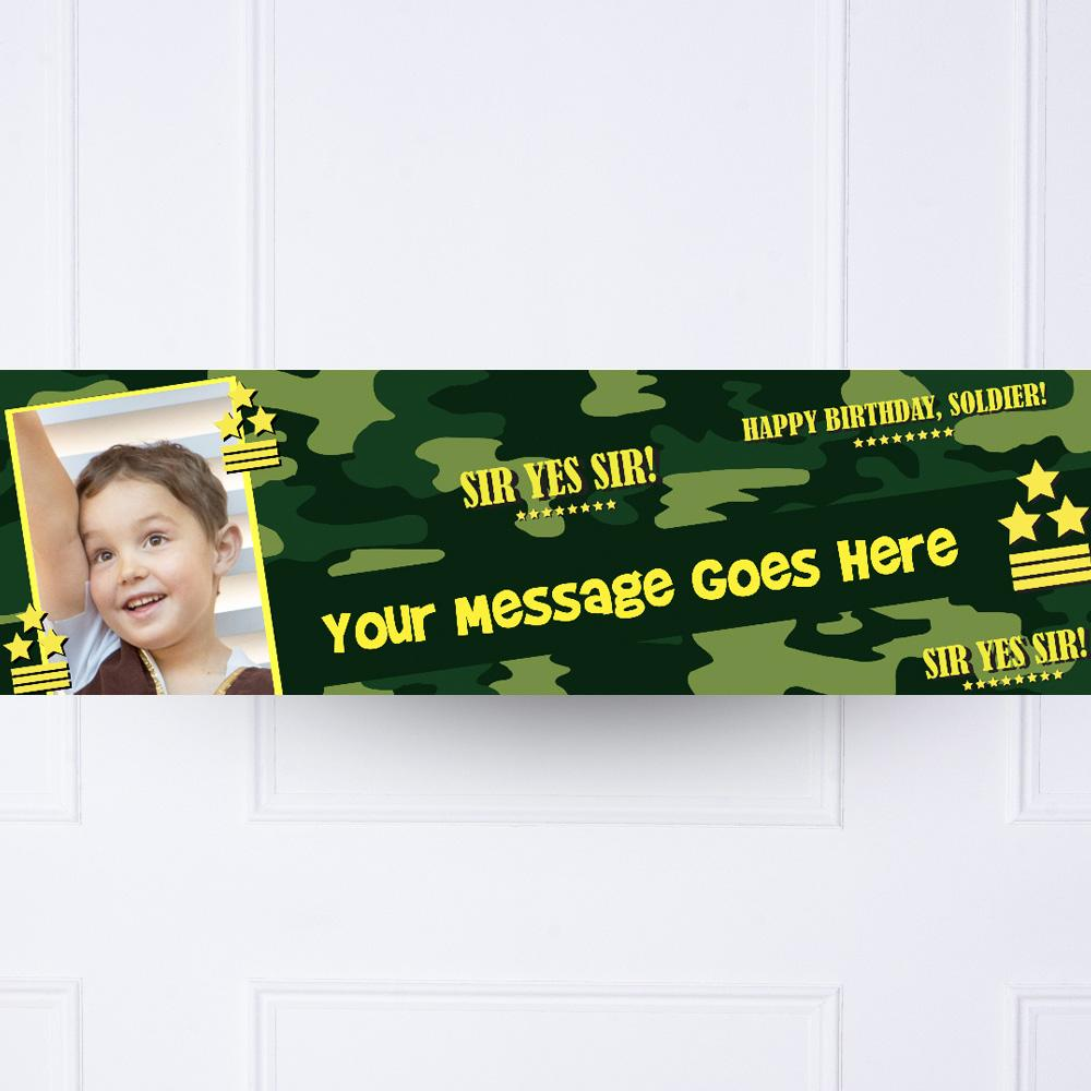 Camouflage Army Party Personalised Party Banner