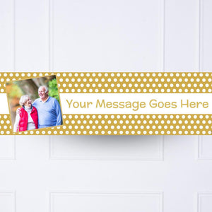 Gold Polka Personalised Party Banner