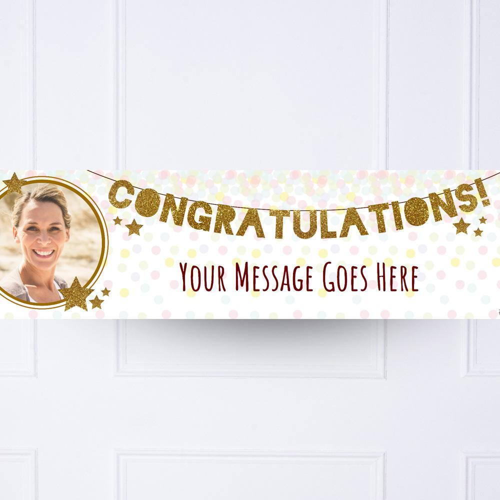 Gold Garland Congratulations Personalised Party Banner