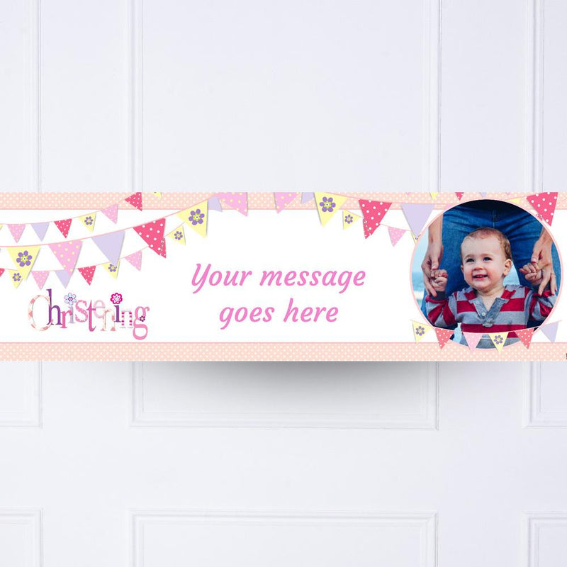 Pink Bunting Christening Personalised Party Banner