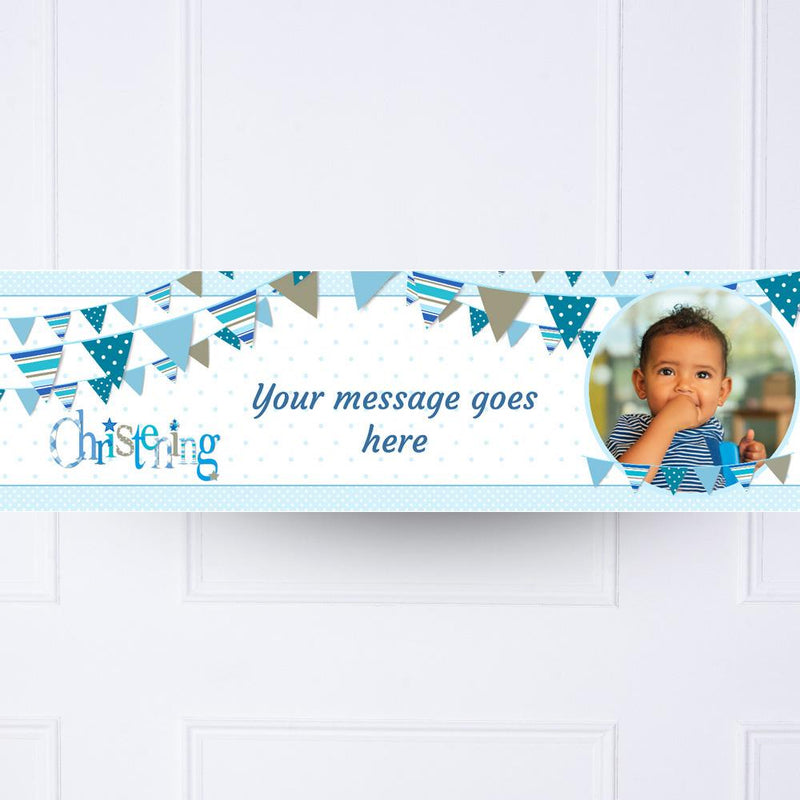 Blue Bunting Christening Personalised Party Banner