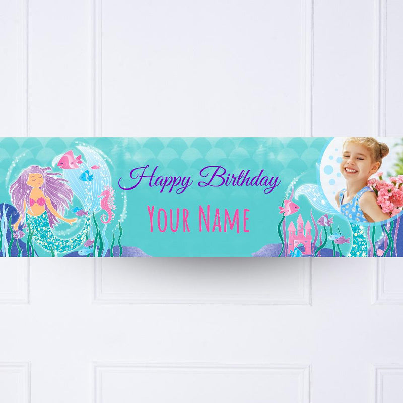 Glitter Mermaid Personalised Party Banner