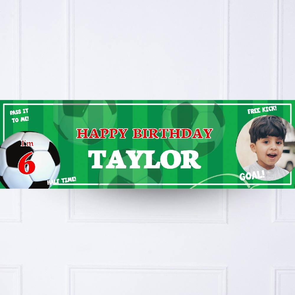 Football Mania Personalised Party Banner Red