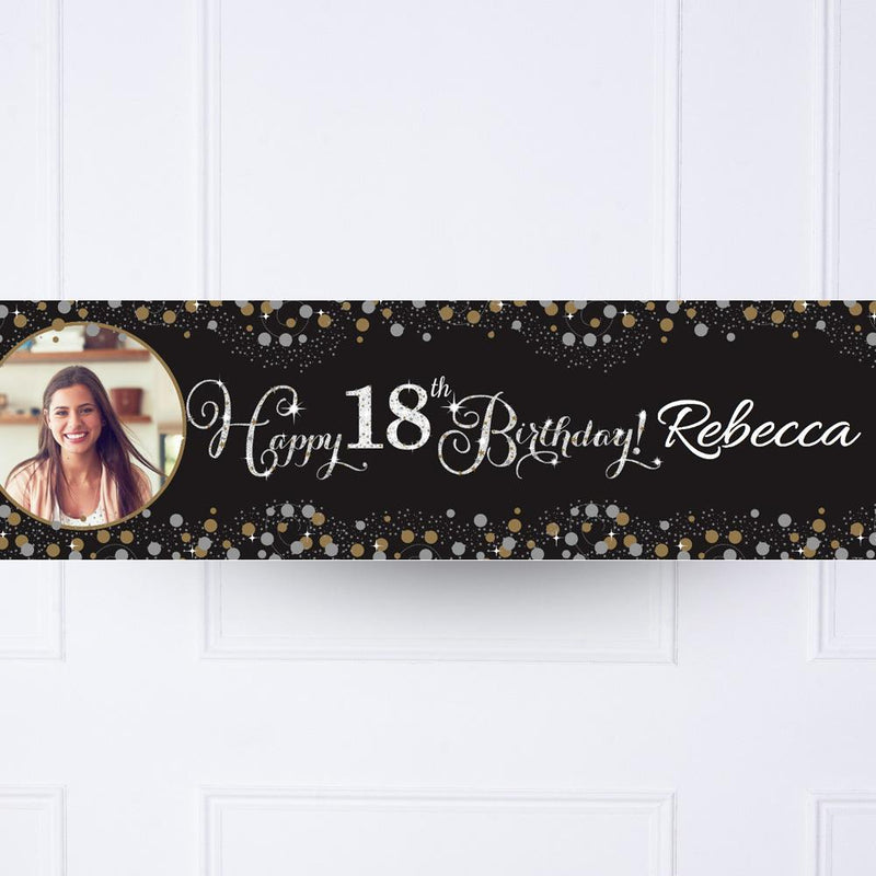Gold Celebration 18th Personalised Party Banner