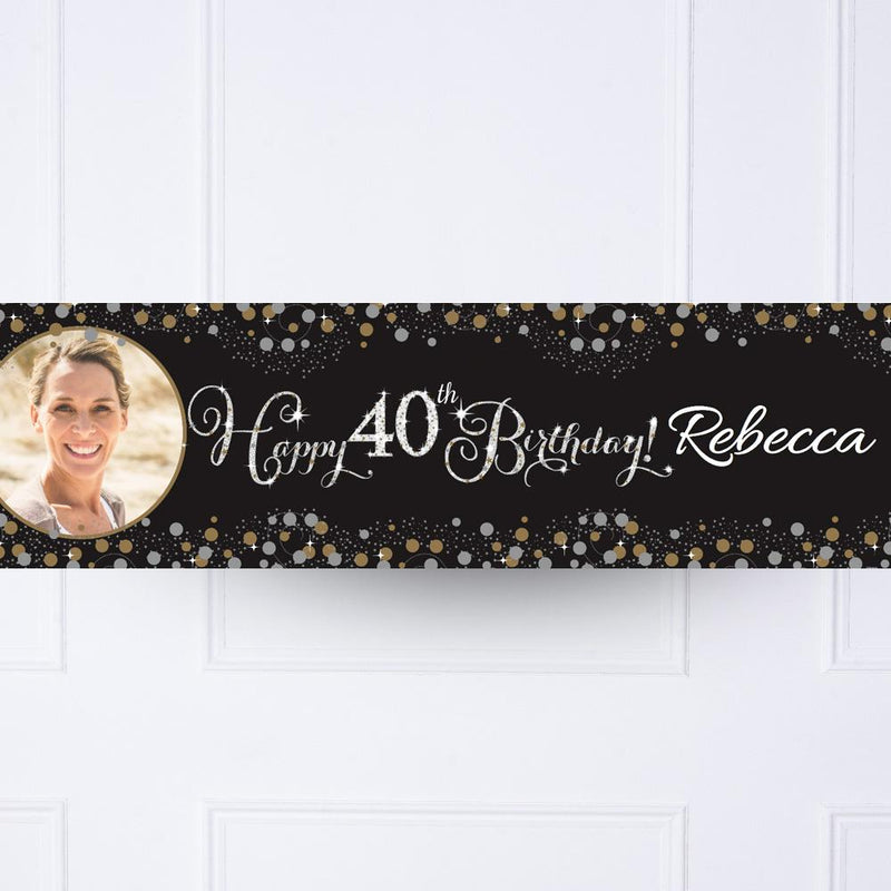 Gold Celebration 40th Personalised Party Banner