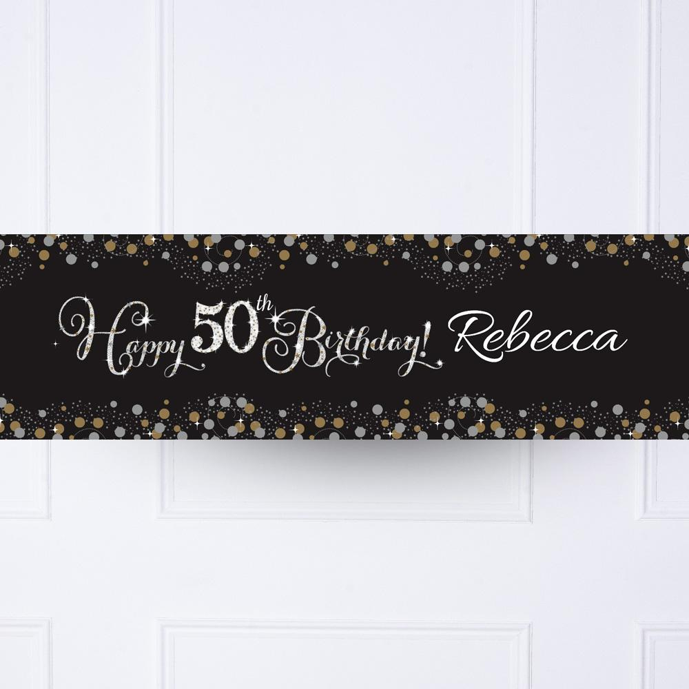 Gold Celebration 50th Personalised Party Banner