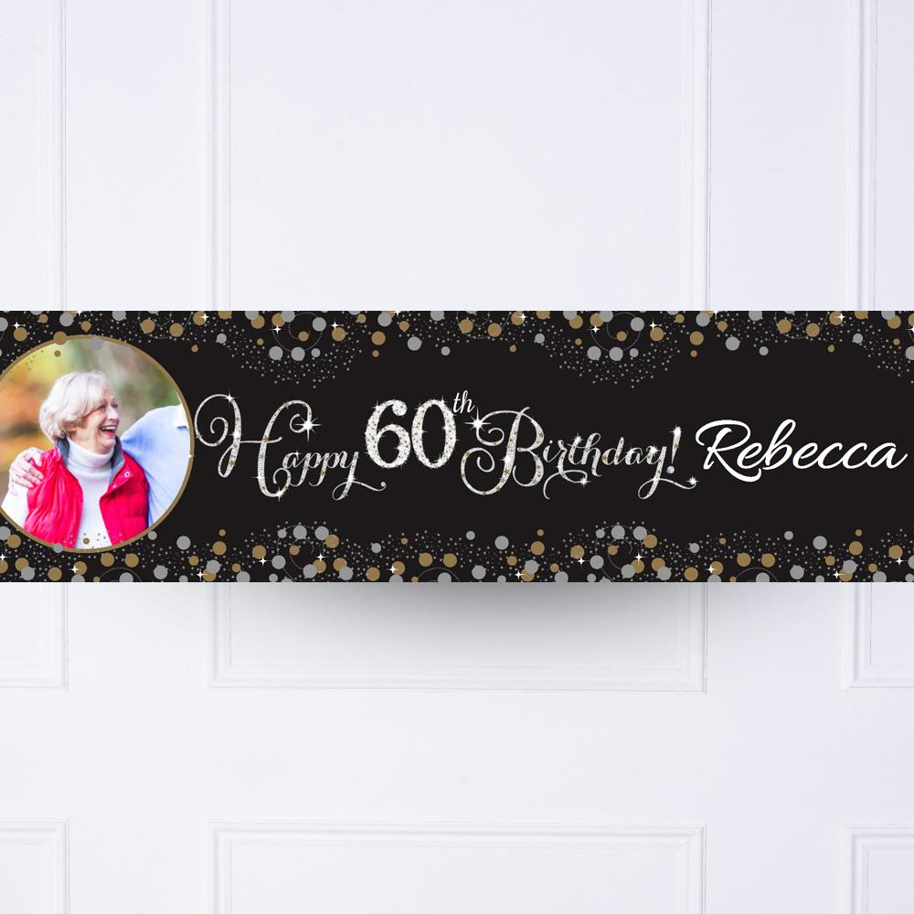 Gold Celebration 60th Personalised Party Banner