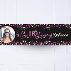 Pink Celebration 18th Personalised Party Banner