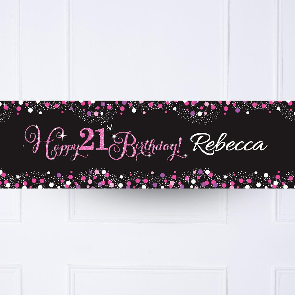 Personalised Happy Birthday Party Photo Banner Pink Balloons Flag /& 4 Eyelets