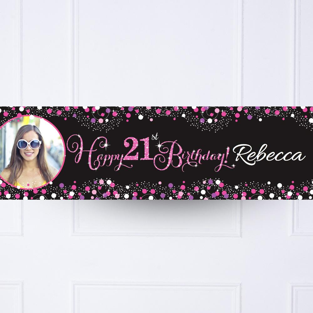 Pink Celebration 21st Personalised Party Banner