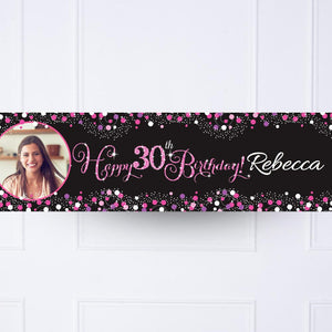 Pink Celebration 30th Personalised Party Banner