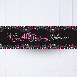 Pink Celebration 40th Personalised Party Banner