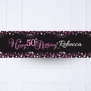 Pink Celebration 50th Personalised Party Banner