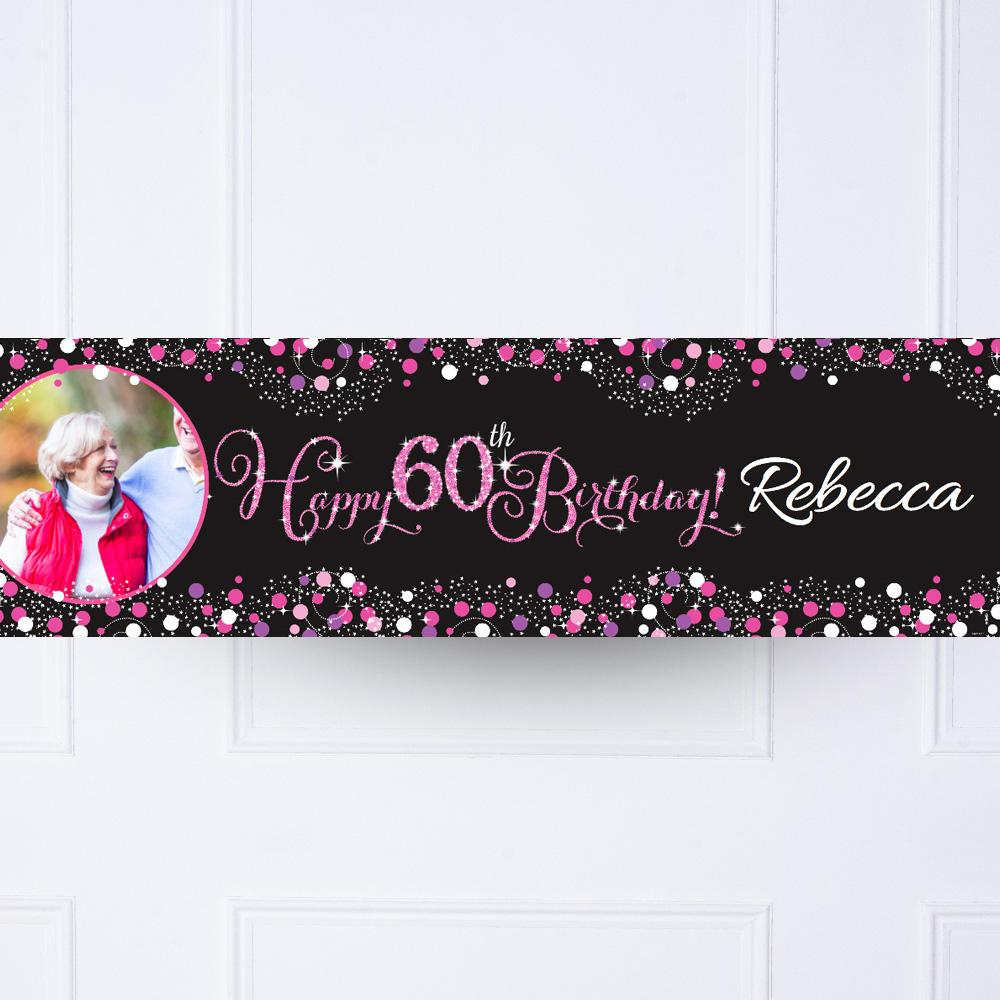 Pink Celebration 60th Personalised Party Banner