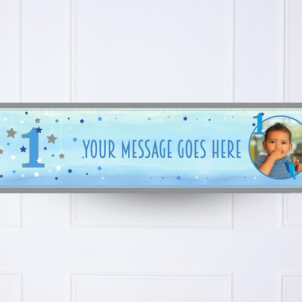 One Little Star Blue Personalised Party Banner