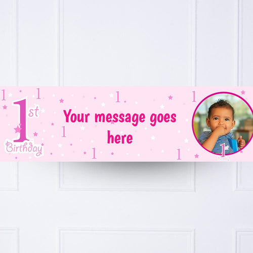 PERSONALISED BANNERS NAME AGE PHOTO PARTY teddy pink christening baby shower D2