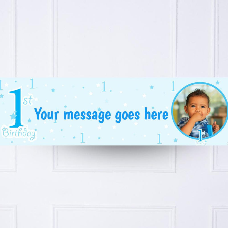 Blue 1st Birthday Personalised Party Banner