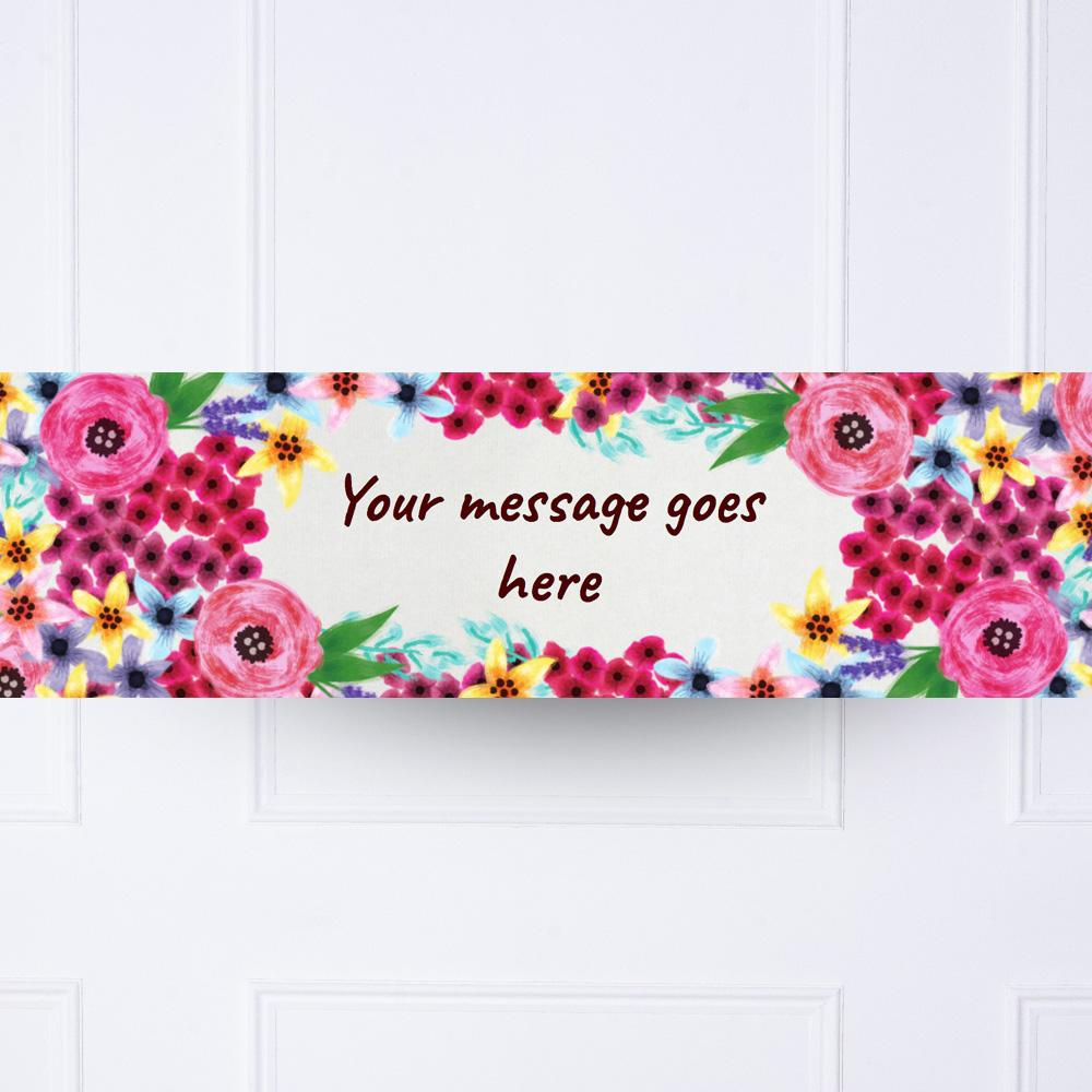Watercolour Flowers Personalised Party Banner