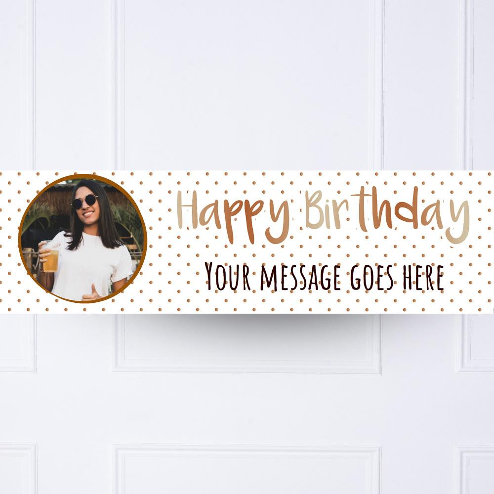 Rose Gold Dots Birthday Personalised Party Banner